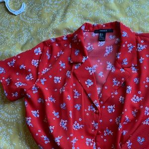 Forever 21 Hawaiian Cropped Button Up